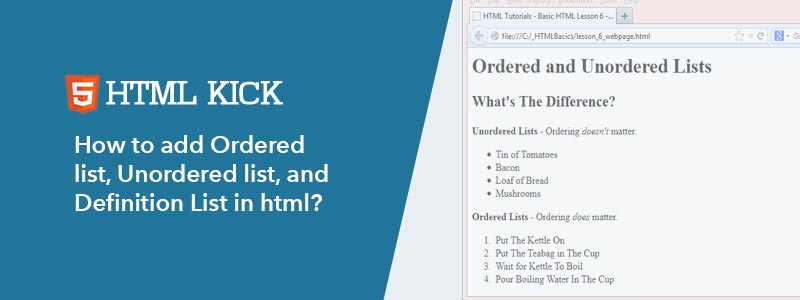 How to add Ordered list, Unordered list, and Definition List in html?