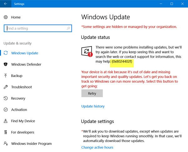 Windows 10 Update Error
