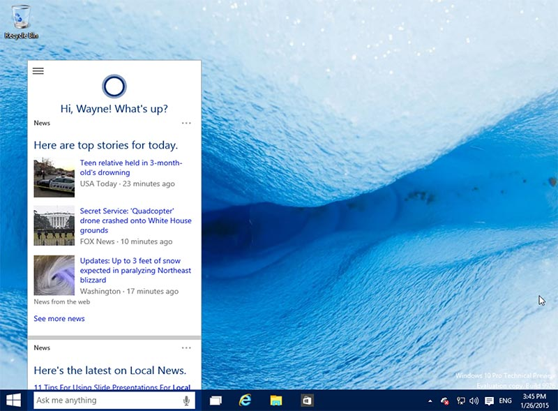 Cortana on Desktop
