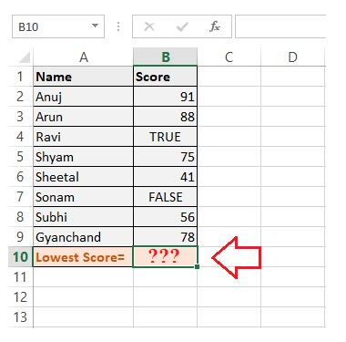 Finding Min value of Range in Cells having Boolean Values
