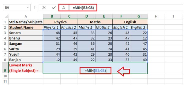 function MIN at this cell range via using a formula