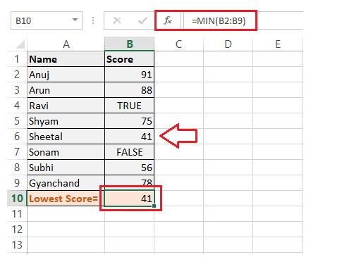get the smallest score from a list